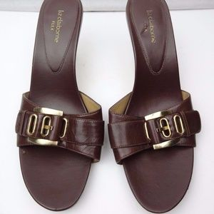 Liz Claiborne Flex Brown Leather Slides Sandals